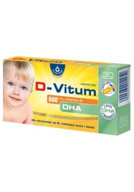 D-vitum 600 j.m. witaminy D DHA, dla niemowląt od 6 miesiąca, 30 kaps