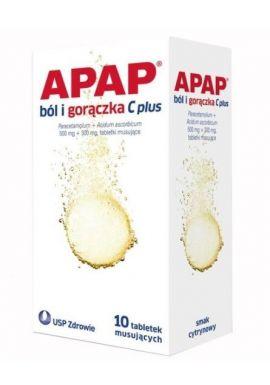 APAP ból i gorączka C plus, 500 mg+300 mg, tabletki musujące, 10 szt.