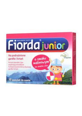 Fiorda Junior 15 pastylek do ssania o smaku malinowym