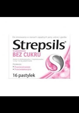 Strepsils bez cukru truskawkowy 16 tabletek