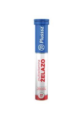 Plusssz Zelazo + Multiwitamina, smak wisniowo-pomaranczowy, 24 tabletki musujace