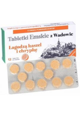 Tabletki Emskie z Wadowic o smaku pomaranczowym, 12 pastylek do ssania