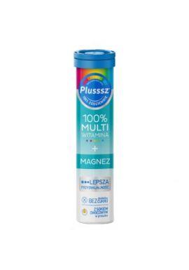 Plusssz 100% Multiwitamina + Magnez, smak mango-pomarancza, 20 tabletek musujacych