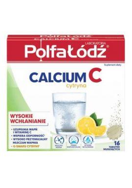 Calcium C, smak cytrynowy, 16 tabletek musujacych PolfaLodz