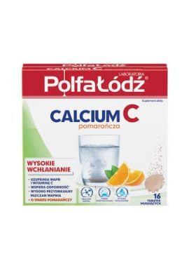 Calcium C, smak pomaranczowy, 16 tabletek musujacych PolfaLodz