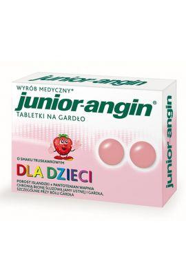 Junior angin, dla dzieci od 4 lat, smak truskawkowy, 36 tabletek do ssania