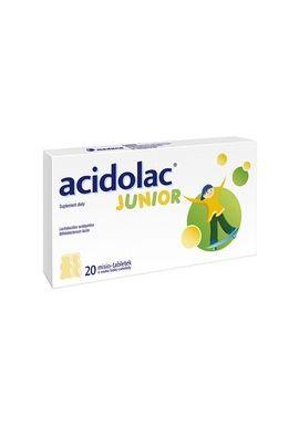 Acidolac Junior 3 lat smak biala czekolada, 20 tabletek