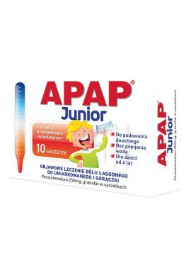Apap Junior dla dzieci od 4 lat granulat 250mg 10 saszetek