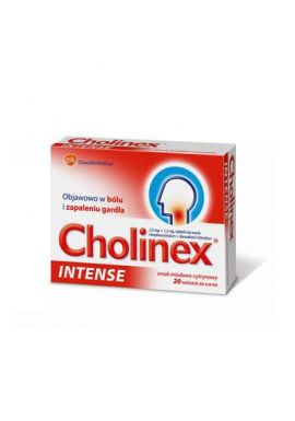 Cholinex Intense, smak miod+cytryna, 20 tabletek