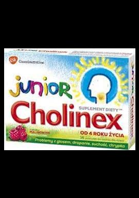 Cholinex Junior smak malinowy od 4 lat 16 pastylek do ssania